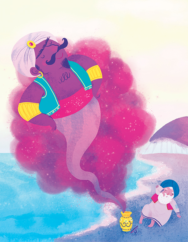 arabian nights illustration kids genius fisherman