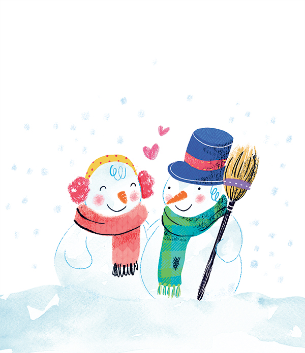 Christmas Winter children kids friends snowman