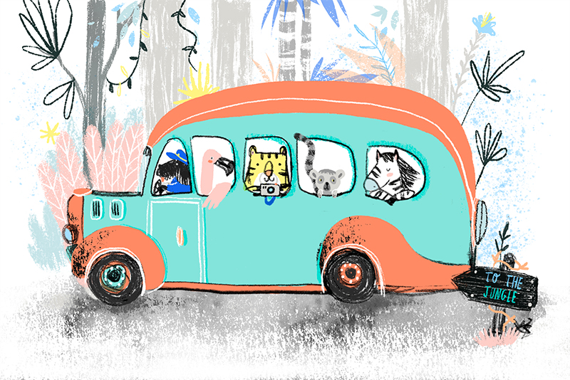 jungle animals wild illustration kids children bus