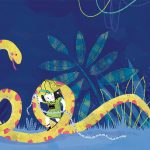snake jungle explorer girl illustration children