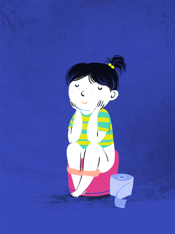 kid pooping poop toddler illustration