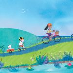 illustration kids pond adventure seaside Cornwall bike