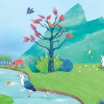 landscape illustration children lamb fox pond peace eden