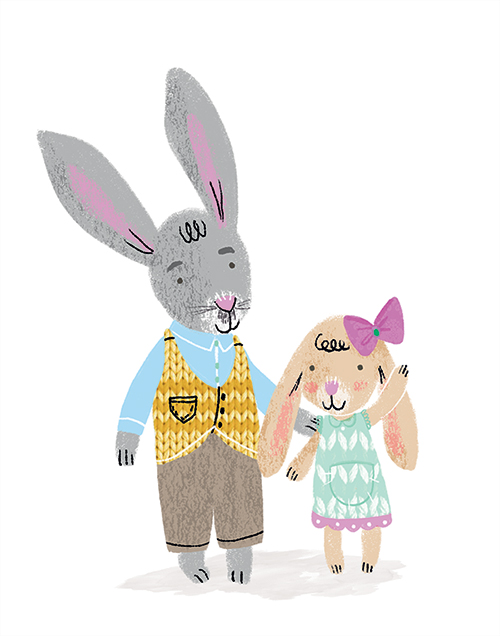 cute rabbit family children's illustration