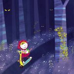 Red Riding Hood fairytale wood illustration