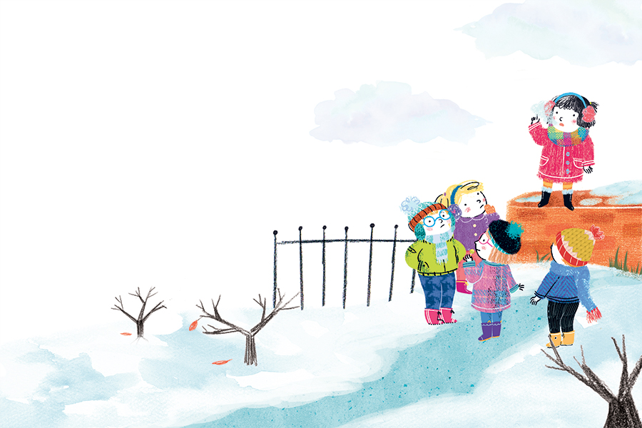 Christmas Winter children kids friends snow